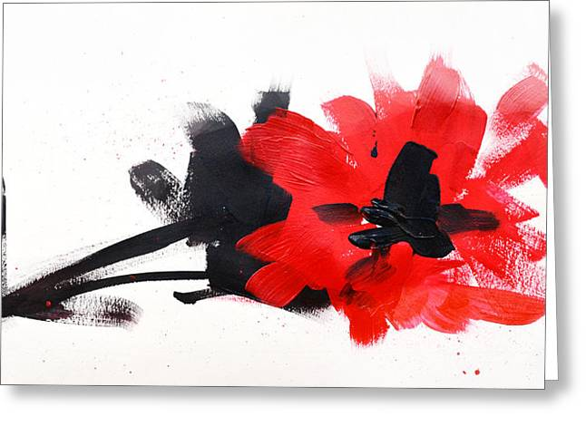 Ink Drawing Greeting Cards - Red and Black Floral II Greeting Card by Patricia Awapara