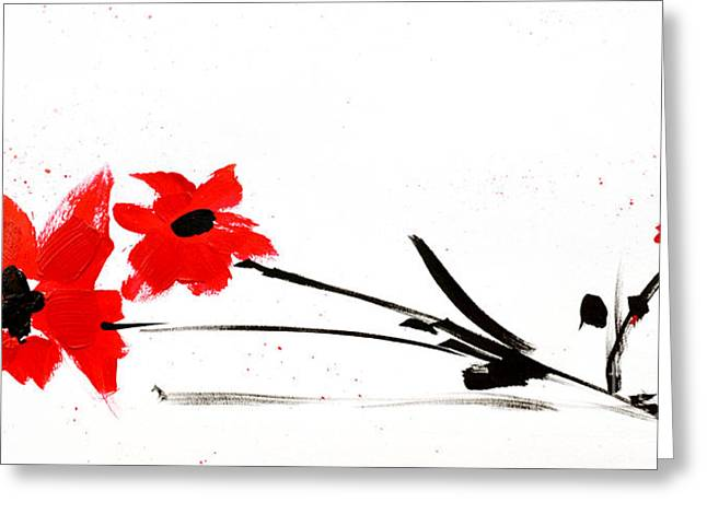 Ink Drawing Paintings Greeting Cards - Red and Black Floral Greeting Card by Patricia Awapara