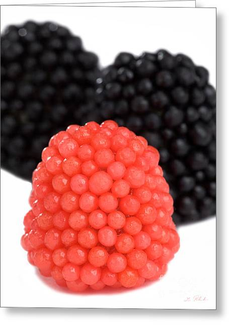 Gummy Candy Greeting Cards - Red and Black Gummy Raspberries Greeting Card by Iris Richardson