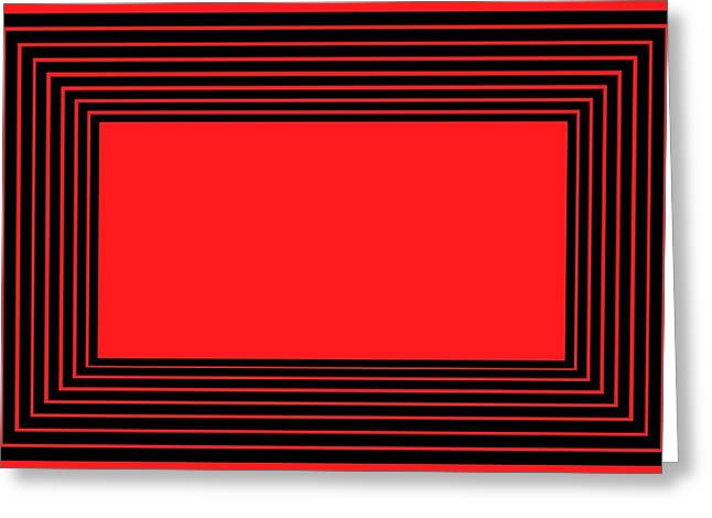 Red School House Greeting Cards - Red and Black Illusion Greeting Card by Chastity Hoff