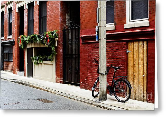 Red Buildings Greeting Cards - Red and Black Greeting Card by Jim  Calarese