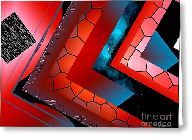 Transparency Geometric Greeting Cards - Red and Blue Abstract Art Greeting Card by Mario  Perez