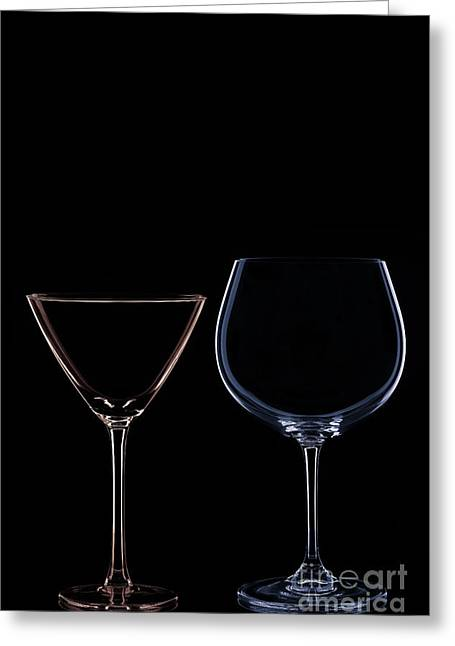Wine Reflection Art Greeting Cards - Red and Blue Greeting Card by Bahadir Yeniceri