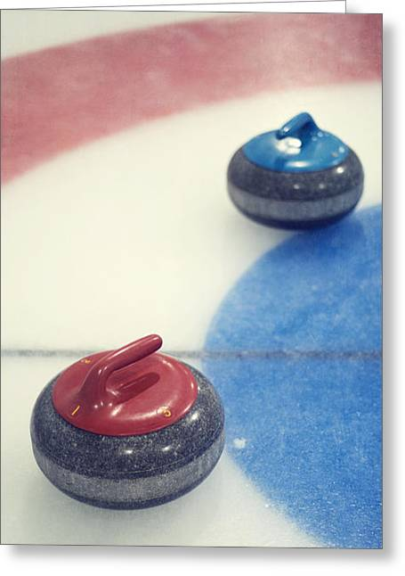 Curl Greeting Cards - Red and blue Curling Rock Greeting Card by Priska Wettstein