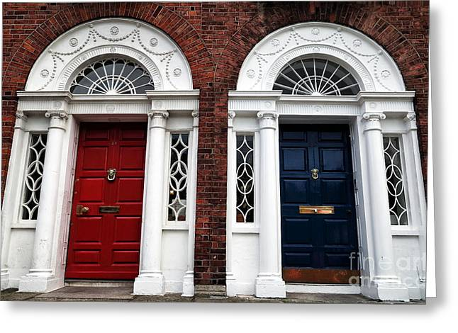 Photo Art Gallery Greeting Cards - Red and Blue Dublin Doors Greeting Card by John Rizzuto