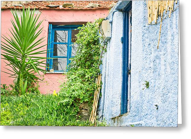 Red Roofs Greeting Cards - Red and blue houses Greeting Card by Tom Gowanlock