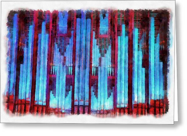 Jenny Mixed Media Greeting Cards - Red and Blue Greeting Card by Jenny Setchell