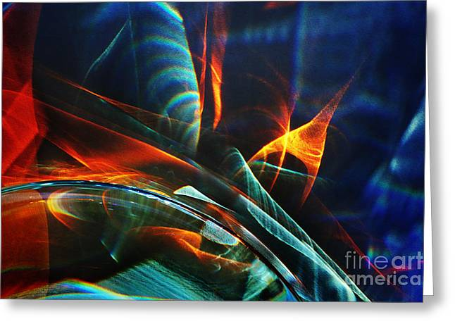 Glass Reflecting Greeting Cards - Red and blue light abstraction Greeting Card by Elena Lir-Rachkovskaya