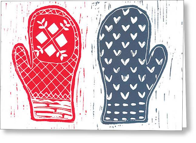 Linoleum Greeting Cards - Red and Blue Nordic Mittens Greeting Card by Lynn-Marie Gildersleeve