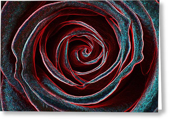 Creative Manipulation Greeting Cards - Red and blue whirl Greeting Card by Rosemary Calvert
