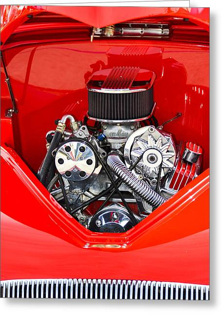 Ford Engine Greeting Cards - Red and Chrome Greeting Card by Carolyn Marshall