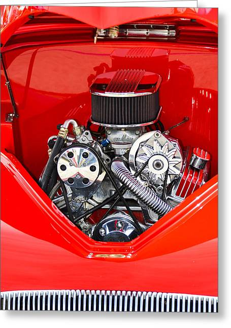 Red And Chrome Greeting Card by Carolyn Marshall