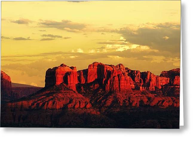 Cathedral Rock Greeting Cards - Red And Gold Greeting Card by Alexey Stiop