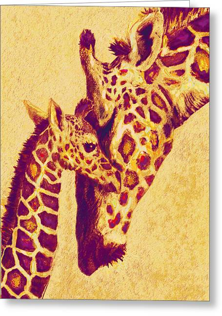 Red And Gold Giraffes Greeting Card by Jane Schnetlage