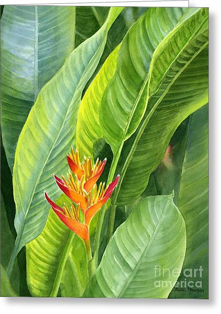 Tropical Flower Greeting Cards - Red and Gold Heliconia Greeting Card by Sharon Freeman