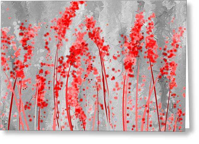 Red Maple Trees Greeting Cards - Red and Gray Art Greeting Card by Lourry Legarde
