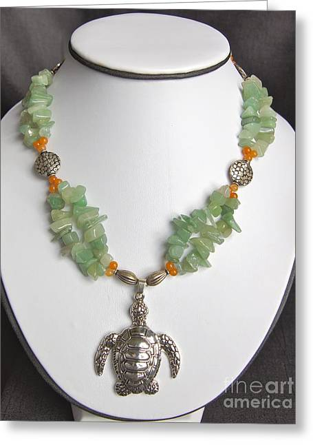 Tropical Beach Jewelry Greeting Cards - Red and Green Aventurine Turtle Necklace Greeting Card by Megan Cohen