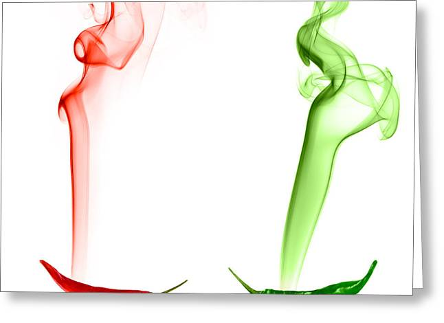 Smoke Digital Art Greeting Cards - Red and Green Chili Smoke Photography Greeting Card by Sabine Jacobs
