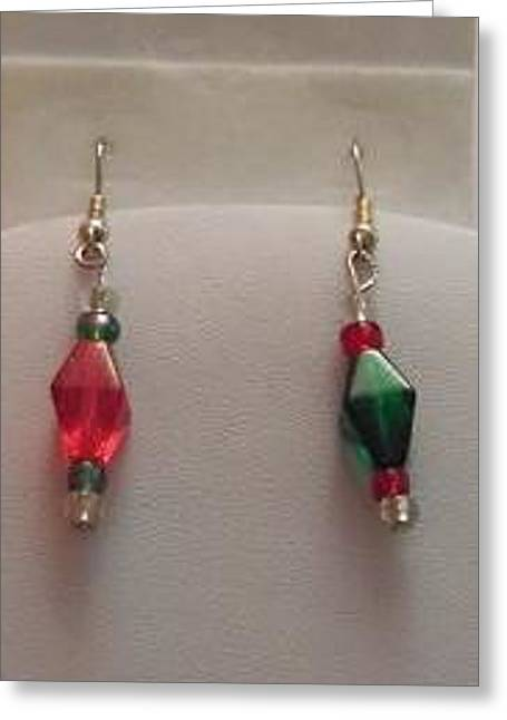 D Jewelry Greeting Cards - Red and Green Christmas Earrings Greeting Card by Kimberly Johnson