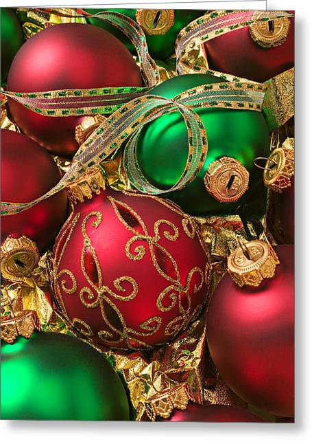 Ribbon Photographs Greeting Cards - Red and green Christmas ornaments Greeting Card by Garry Gay