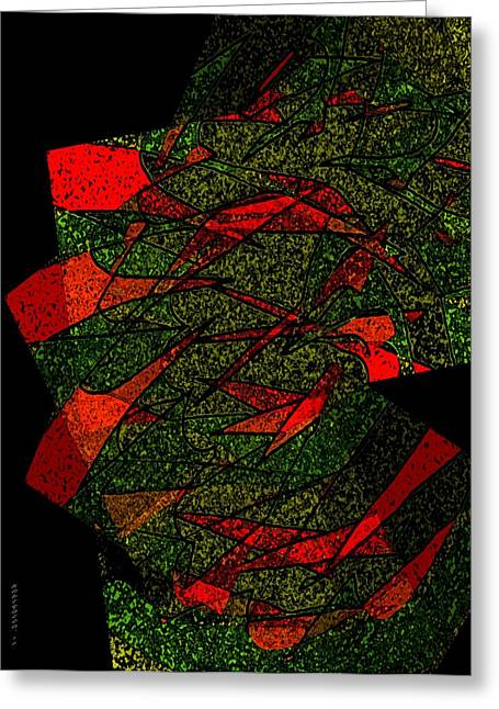 Transparency Geometric Greeting Cards - Red and Green Art         Greeting Card by Mario  Perez