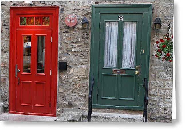 Champlain Greeting Cards - Red and Green Doors of Quebec Greeting Card by Juergen Roth