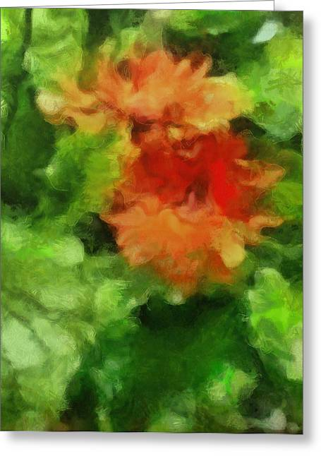 Dust Pastels Greeting Cards - Red and Green Flower Floral Plants Botanicals Garden in Spring and Summer by MendyZ Greeting Card by MendyZ