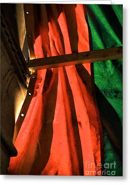 Shades Of Red Greeting Cards - Red and Green in Venice Greeting Card by John Rizzuto