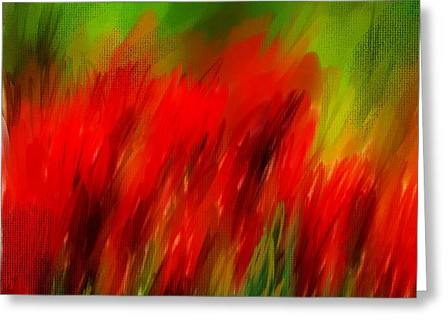 Green Abstract Greeting Cards - Red And Green Greeting Card by Lourry Legarde