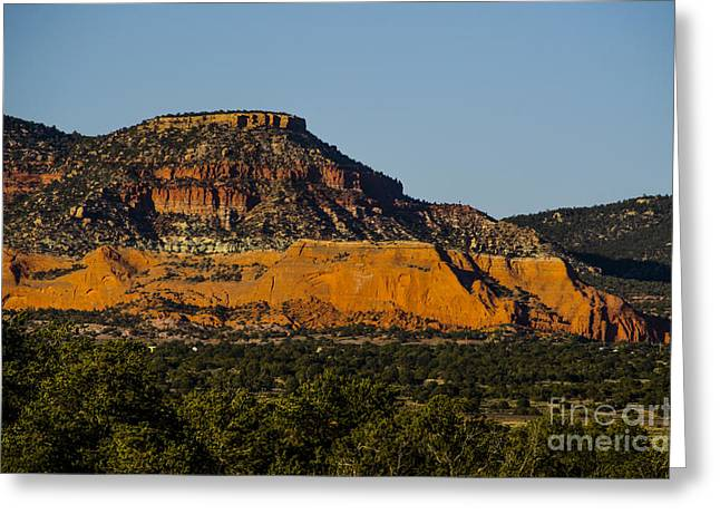 Red And Green Plateau New Mexico Greeting Card by Deborah Smolinske
