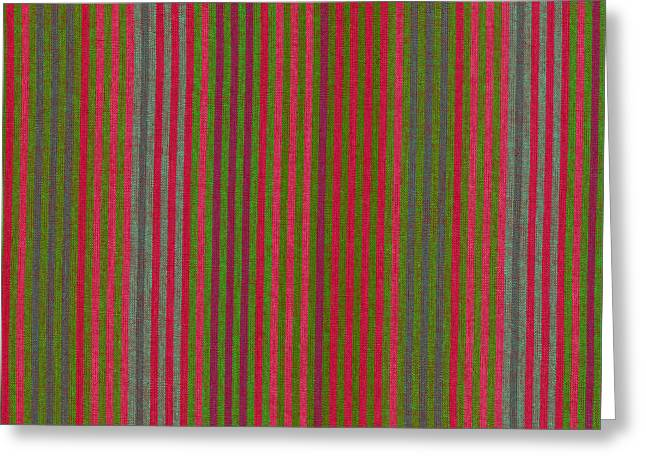 Textile Greeting Cards - Red And Green Striped Fabric Background Greeting Card by Keith Webber Jr