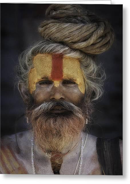 Begging Bowl Greeting Cards - Red and Orange Sadhu Greeting Card by David Longstreath