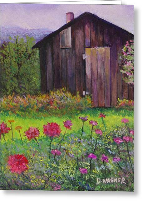 Sheds Pastels Greeting Cards - Red and Pink Flowers Greeting Card by Denise Wagner