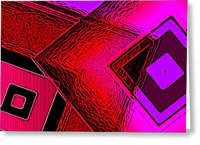 Geometry And Diagonals Greeting Cards - Red and Pink in Abstract Art Greeting Card by Mario  Perez