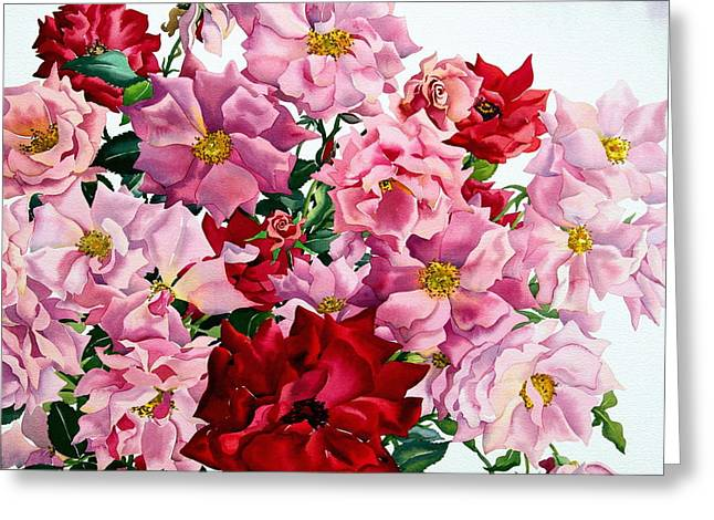 """""""flower Still Life"""" Greeting Cards - Red And Pink Roses, 2008 Wc On Paper Greeting Card by Christopher Ryland"""