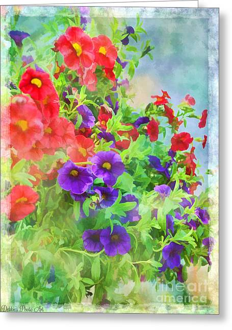 Debbie Portwood Greeting Cards - Red and Purple Calibrachoa - Digital Paint I Greeting Card by Debbie Portwood