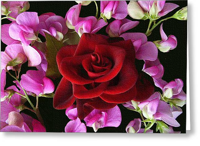 Award Winning Art Greeting Cards - Red And Purple Make A Perfect Pair Greeting Card by Dennis Buckman
