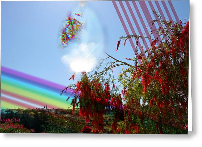 Yellow Black White Silver Greeting Cards - Red and Rainbow Greeting Card by Augusta Stylianou
