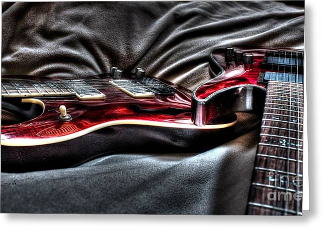 Acoustical Digital Greeting Cards - Red and Ready Digital Guitar Art by Steven Langston Greeting Card by Steven Lebron Langston