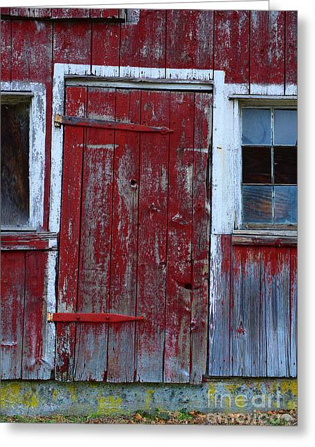 Vintage Accents Greeting Cards - Red and Weathered Door Greeting Card by Paul Ward