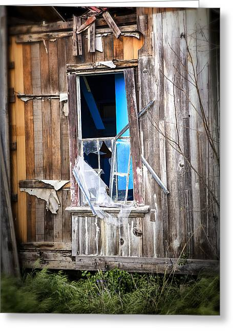 Abandoned House Greeting Cards - Red and White and Blue Greeting Card by Caitlyn  Grasso
