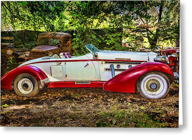 Forgotten Cars Greeting Cards - Red And White Auburn Greeting Card by Garry Gay