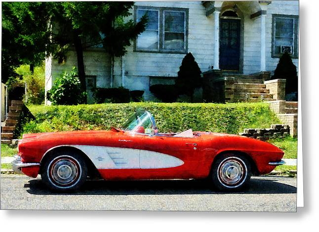 Suburban Greeting Cards - Red and White Corvette Convertible Greeting Card by Susan Savad