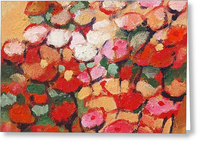 Painted Flowers Greeting Cards - Red and white flowers Greeting Card by Lutz Baar