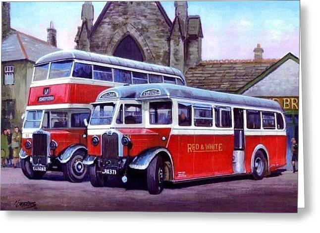 Double Decker Greeting Cards - Red and White Greeting Card by Mike  Jeffries