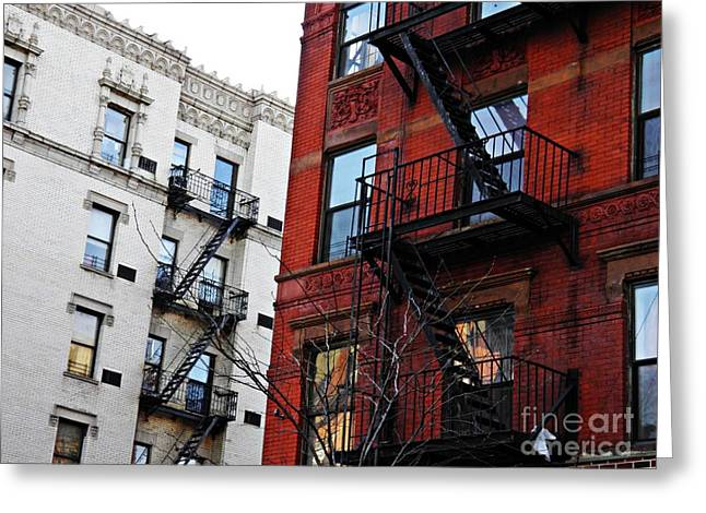 Washington Heights Greeting Cards - Red and White New York Greeting Card by Sarah Loft
