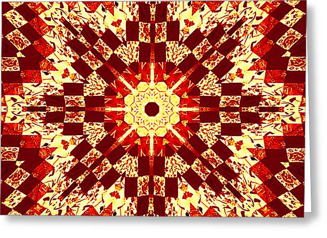 Print Tapestries - Textiles Greeting Cards - Red and White Patchwork Art Greeting Card by Barbara Griffin