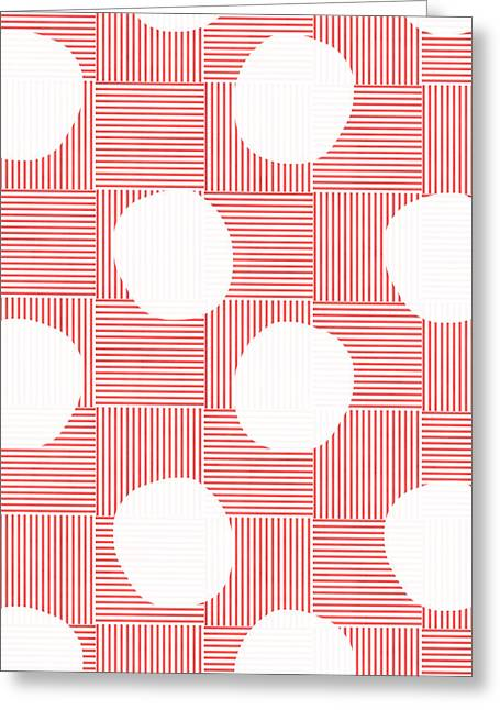 Red And White Greeting Cards - Red and White Poof  Greeting Card by Linda Woods