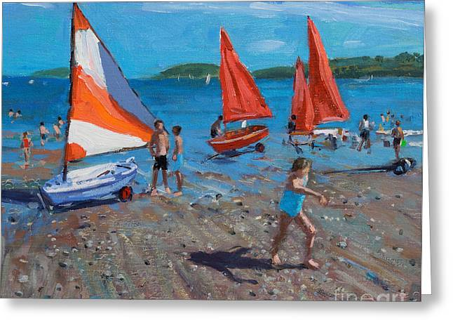 Blue Sky And Sand Greeting Cards - Red and White Sails Greeting Card by Andrew Macara