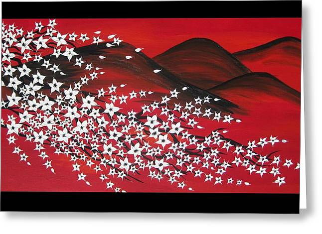 Catherine White Paintings Greeting Cards - Red And White Sakura Greeting Card by Cathy Jacobs